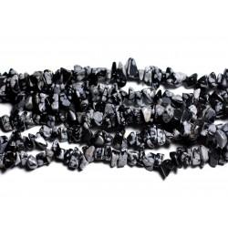 Fil 89cm 320pc env - Perles de Pierre - Obsidienne Flocon Rocailles Chips 5-10mm