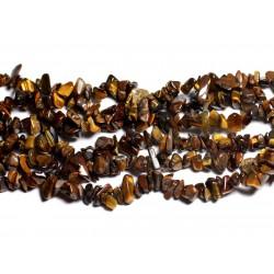 Fil 89cm 300pc env - Perles de Pierre - Oeil de Tigre Rocailles Chips 5-10mm