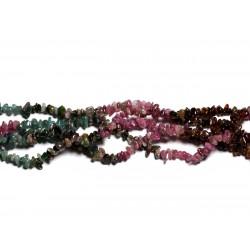 Fil 39cm 180pc env - Perles de Pierre - Tourmaline Multicolore Rocailles Chips 3-6mm