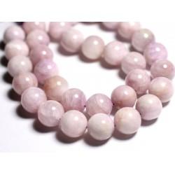 Fil 39cm 33pc env - Perles de Pierre - Kunzite Rose Boules 12mm