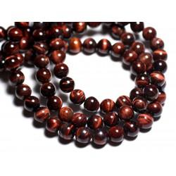 Fil 39cm 45pc env - Perles de Pierre - Oeil de Taureau Boules 8mm