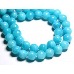 Fil 39cm 33pc env - Perles de Pierre - Jade Boules 12mm Bleu Turquoise