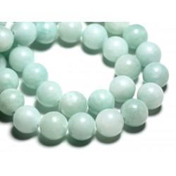 Fil 39cm 28pc env - Perles de Pierre - Jade Boules 14mm Vert clair Turquoise