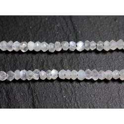 10pc - Perles de Pierre - Pierre de Lune Orientale Rondelles Facettées 3x2mm - 4558550090317