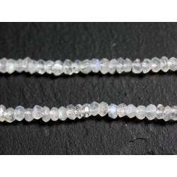 Fil 155pc env - Perles de Pierre - Pierre de Lune Arc en Ciel Rondelles Facettées 3x2mm - 4558550090997