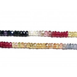 Fil 255pc env - Perles de Pierre - Saphir Multicolore Rondelles Facettées 3x2mm - 4558550090980