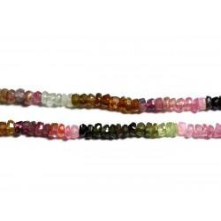 Fil 150pc env - Perles de Pierre - Tourmaline Multicolore Rondelles Facettées 3x2mm - 4558550091062