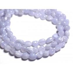 Fil 39cm 50pc env - Perles de Pierre - Calcédoine Bleue Olive Nuggets 5-10mm