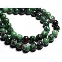 Fil 39cm 37pc env - Perles de Pierre - Rubis Zoïsite Boules 10mm