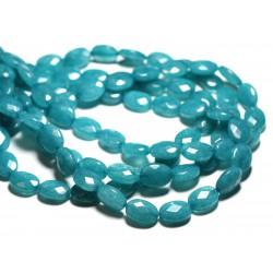 1 Fil 39cm Perles de Pierre - Jade Ovales Facettés 14x10mm Bleu Vert Paon
