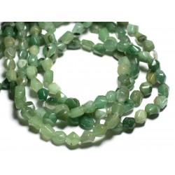 Fil 39cm - Perles de Pierre - Aventurine Verte Nuggets Facettés 7-10mm