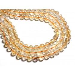 Fil 39cm - Perles de Pierre - Citrine Boules 10mm