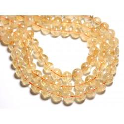 Fil 39cm - Perles de Pierre - Citrine Boules 12mm