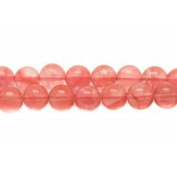 Fil 39cm 63pc env - Perles de Pierre - Quartz Cerise Boules 6mm