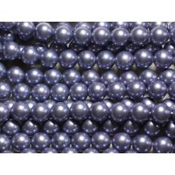 1 Fil 39cm - Perles de Nacre Boules 8mm Bleu Gris Horizon
