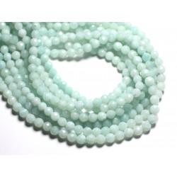 Fil 39cm 64pc env - Perles de Pierre - Amazonite Boules Facettées 6mm
