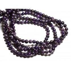 Fil 39cm 65pc env - Perles de Pierre - Lépidolite Boules 6mm