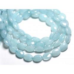 1 Fil 39cm Perles de Pierre - Jade Ovales Facettés 14x10mm Bleu Ciel