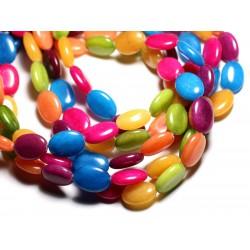 1 Fil 39cm - Perles de Pierre - Jade Ovales 18x13mm Multicolore