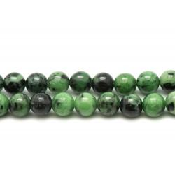 1 Fil 39cm Perles de Pierre - Rubis Zoïsite Boules 6mm