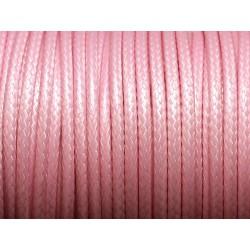 1 Bobine 45 mètres - Fil Cordon Coton Ciré 3mm Rose