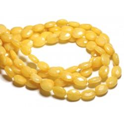 1 Fil 39cm Perles de Pierre - Jade Ovales Facettés 14x10mm Jaune Moutarde