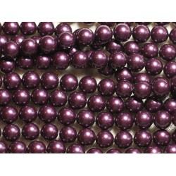1 Fil 39cm - Perles de Nacre Boules 8mm Violet Aubergine