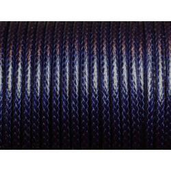 1 Bobine 45 mètres - Fil Cordon Coton Ciré 3mm Bleu Marine