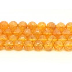 1 Fil 39cm Perles de Pierre - Citrine Boules Facettées 10mm