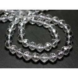Fil 39cm 46pc env - Perles de Pierre - Cristal de Roche Quartz Boules Facettées 8mm