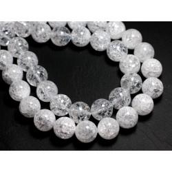 Fil 39cm 26pc env - Perles de Pierre - Cristal de Roche Quartz Craquelé Boules 14mm