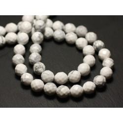 Fil 39cm 46pc env - Perles de Pierre - Howlite Boules Facettées 8mm