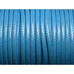 1 Bobine 45 mètres - Fil Cordon Coton Ciré 3mm Bleu