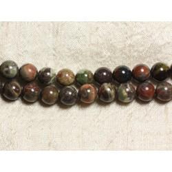 1 Fil 39cm Perles de Pierre - Opale Verte Boules 12mm