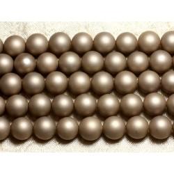 1 Fil 39cm - Perles de Nacre Boules 10mm Beige Mat