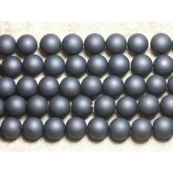 1 Fil 39cm - Perles de Nacre Boules 10mm Gris Mat