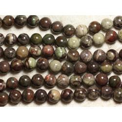 1 Fil 39cm Perles de Pierre - Opale Verte Boules 10mm