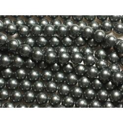 Fil 39cm 46pc env - Perles de Nacre Boules 8mm Gris Noir