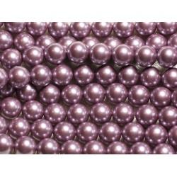 1 Fil 39cm - Perles de Nacre Boules 8mm Rose Mauve