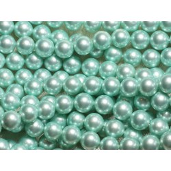 1 Fil 39cm - Perles de Nacre Boules 8mm Vert Menthe