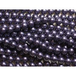 1 Fil 39cm - Perles de Nacre Boules 8mm Bleu Indigo