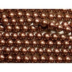1 Fil 39cm - Perles de Nacre Boules 8mm Marron Doré