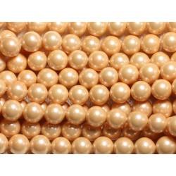 1 Fil 39cm - Perles de Nacre Boules 8mm Orange clair Saumon