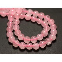 Fil 39cm 93pc env - Perles de Pierre - Quartz Rose Boules 4mm
