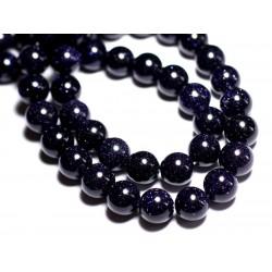 Fil 39cm 37pc env - Perles de Pierre - Pierre de Soleil Synthèse bleue Galaxy Boules 9-10mm