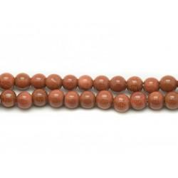 1 Fil 39cm Perles de Pierre - Pierre de Soleil Synthèse Boules 4mm
