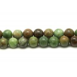 1 Fil 39cm Perles de Pierre - Opale Verte Boules 8mm