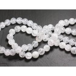 Fil 39cm 48pc env - Perles de Pierre - Cristal de Roche Quartz Craquelé Boules 8mm