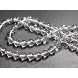 Fil 39cm 63pc env - Perles de Pierre - Cristal de Roche Quartz Boules 6mm