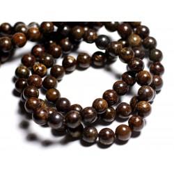 Fil 39cm 63pc env - Perles de Pierre - Bronzite Boules 6mm